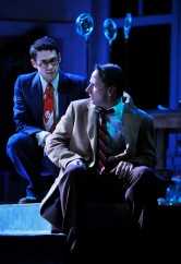 Brandon Garegnani as the Angel Clarence, and Todd Lawson as George Bailey, in PlayMakers Repertory Company production of It's A Wonderful Life: A Live Radio Play. Photo: Jon Gardiner