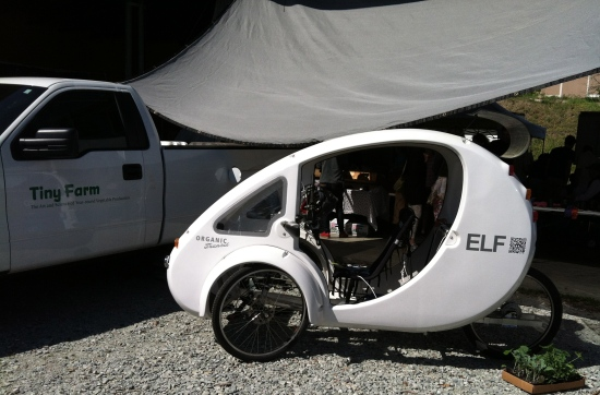 The ELF is made in Durham by Organic Transit. The 3-wheeler has solar power assist and LED headlights.