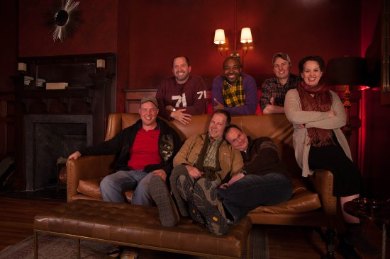 The super-cast of THE HOMOSEXUALS, lounging at the Durham bar, Whiskey. Photo: Paul Davis.
