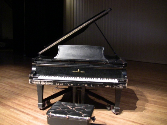 Save Our Steinways: This 1943 concert grand belonging to the Durham School of the Arts needs renovation. Photo: Trudi Abel.
