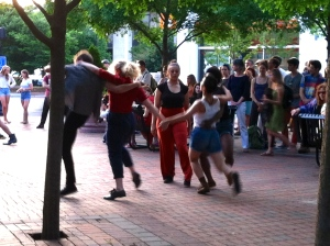 ADF student dancers improvising at Five Points.
