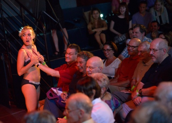 Critic Roy C. Dicks got snagged in the audience participation games. Sitting next to him, I got nothing but the costume Leonie McDonagh had been wearing. At Motorco, 7/17/13. Photo: Grant Halverson, courtesy ADF.