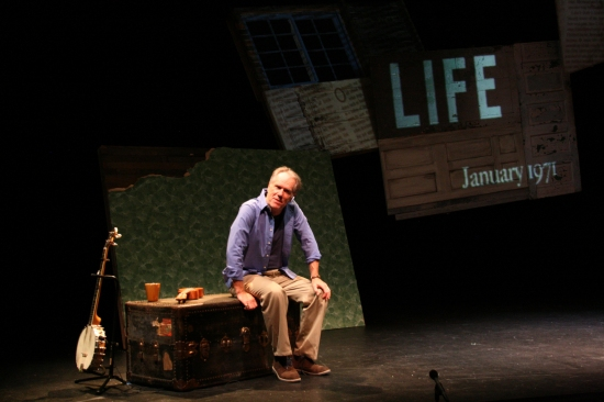 Life with and without father: Loudon Wainwright III in PlayMakers Repertory Company's world premiere production of his show SURVIVING TWIN. Sept. 4-8, 2013. Photo: Jon Gardiner.