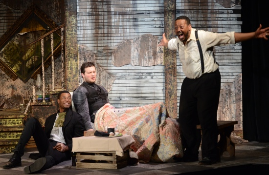 L to R: Alphonse Nicholson, Victor Rivera, Phillip B. Smith in Seder scene of THE WHIPPING MAN, at the ArtsCenter through Oct. 26. Photo: Adam Dodds.