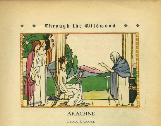 Arachne could weave even more beautifully than Athena, shown here disguised as a crone, preparing to turn Arachne into the first spider for that insolence. From the 1928 children's compendium, Book Trails. The story appears in Book VI of Ovid's Metamorphoses.