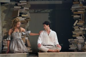 The young lovers Miranda and Ferdiand, played by Caroline Strange and Brandon Garegnani. Photo: Michal Daniel for PRC.