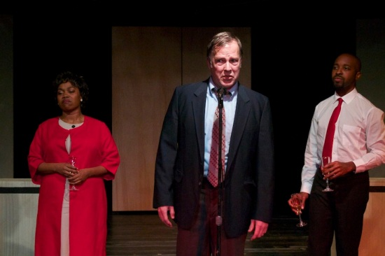 At the moment of transformative change: Coffey, Ivey and Edwards in Manbites Dog's THE BEST OF ENEMIES. Photo: Alan Dehmer.