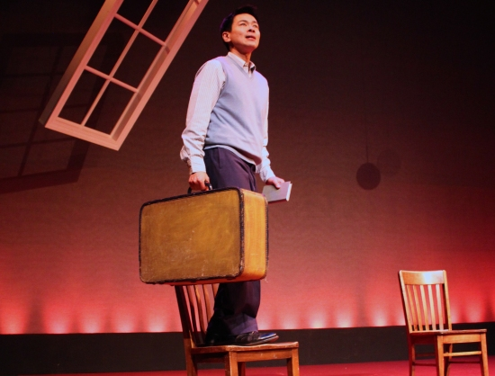 Joel de la Fuente as Gordon Hirabayashi, et al., in HOLD THESE TRUTHS, at PlayMakers. Photo: Laura Pates.