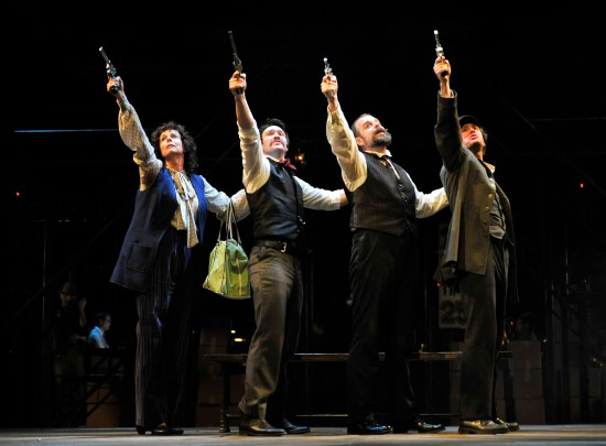 L to R: Julie Fishell as Sara Jane Moore, Danny Binstock as John Wilkes Booth, Jeffrey Meanza as Charles Guiteau and Gregory DeCandia as Leon Czolgosz, in PRC's ASSASSINS. Photo: Jon Gardiner for PRC.