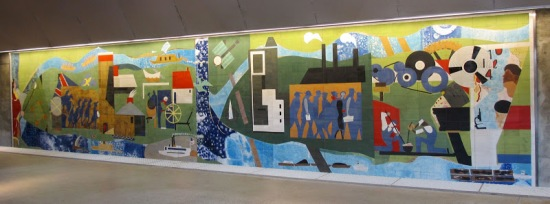 Pittsburgh Recollections, Romare Bearden's 1984 tile mural as reinstalled 2012 at Pittsburgh's Gateway Center T station. 13 x 60 feet.