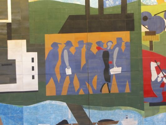 Detail, Pittsburgh Recollections, 1984 tile mural by Romare Bearden. Photo: J. Michael Krivyanski/examiner.com.