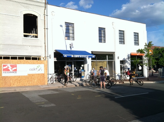 Renovation finally at 108 Morris, with Bullseye Sunday cyclists.