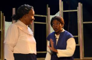 Juanda LaJoyce Holley as Aunt Ester, who can conjure the spirit world, and Sherida McMullan as Black Mary in The ArtsCenter Stage production of Gem of the Ocean. Photo: