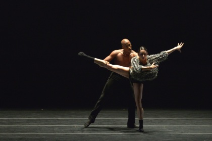 Jamal Rashann Callender and Lauren Alzamora in Ballet Hispanico's Sortijas, June 20, 2014. Photo: Grant Halverson ©ADF.