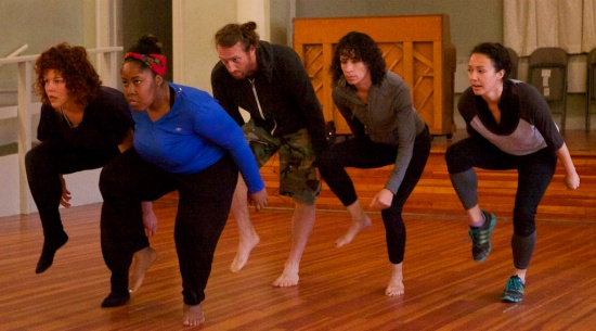 The company rehearsing UNDONE, which will be presented June 12-14 in Durham. Photo: Noah Rosenblatt-Farrell.