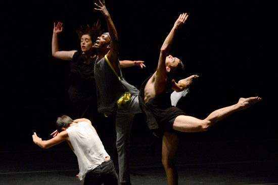 This instant from BLEED shows O'Connor's skillful use of gesture big and small. Silas Riener front right. Photo: Grant Halverson, ©ADF.
