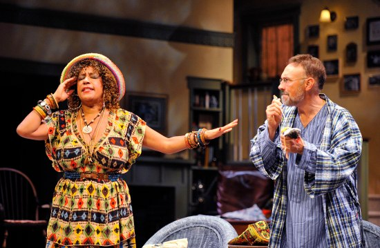 KATHRYN HUNTER-WILLIAMS as Cassandra and JEFFREY BLAIR CORNELL as Vanya. Photo: Jon Gardiner.