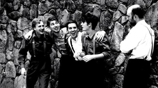 Left to Right: Jeb Brinkley, Brandon Rafalson, Justin Johnson, Peter Vance, David Hudson portray men from Avon who take the one-way trip to war. Photo: courtesy of Jason Abide.