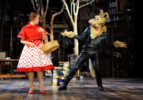 Jessica Sorgi as Little Red Riding Hood and Gregory DeCandia as the Wolf, in PRC's INTO THE WOODS. Photo: Jon Gardiner.