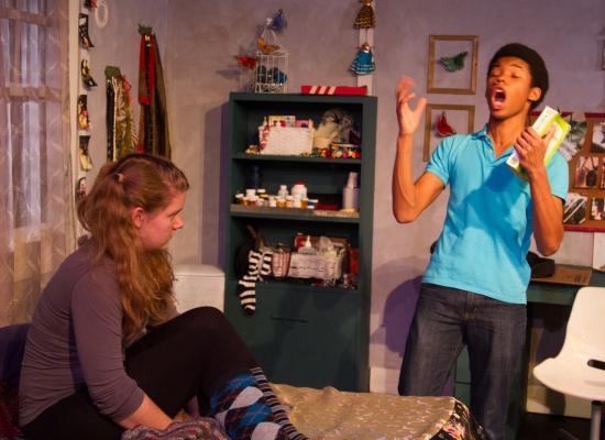 Barbaric yawp: Natalie Izlar and Gerald Jones III in I AND YOU, at Manbites Dog Theater. Photo: Alan Dehmer.