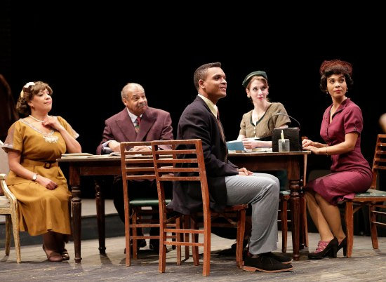 "L to R: KATHRYN HUNTER-WILLIAMS as Wiletta Mayer, ROGER ROBINSON as Sheldon Forrester, MYLES BULLOCK as John Nevins, CAREY COX as Judy Sears and SUZETTE AZARIAH GUNN as Millie Davis in PlayMakers Repertory Company's production of ""Trouble in Mind"" by Alice Childress. January 21 – February 8, 2015. Directed by Jade King Carroll. Photo by Jon Gardiner."