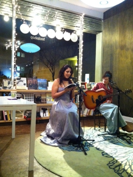 Monica Byrne, author of The Girl in the Road, at the paperback release reading at Letters Bookshop. Skylar Gudasz also sang.