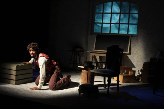 Jade Arnold as Abraham Galloway, in Howard L. Craft's The Fire of Freedom at the REDBIRD new play festival. Photo courtesy the ArtsCenter.