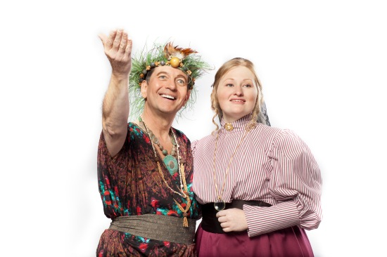 Jim Burnette as King Paramount, and Alana Sealy as The Lady Sophy, in the Durham Savoyards production of UTOPIA, LIMITED. Photo courtesy of The Durham Savoyards, Ltd.
