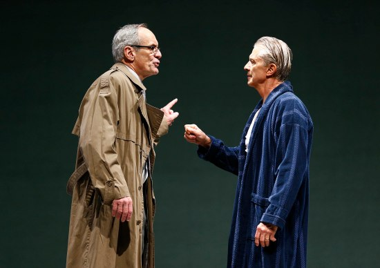 Anthony Newfield as Peter Stockmann, and Michael Bryan French as Dr. Stockmann, in PRC's AN EMEMY OF THE PEOPLE. Photo: Jon Gardiner.