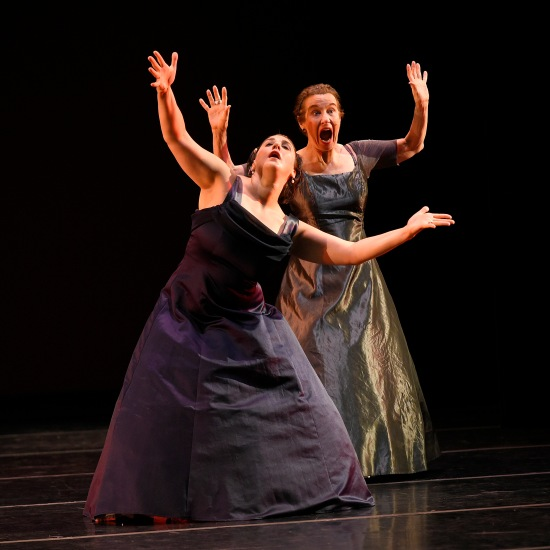 Sara Juli, front, and Claire Porter in the premiere of their Small Stories at ADF 6/129/15. Photo: Grant Halverson.