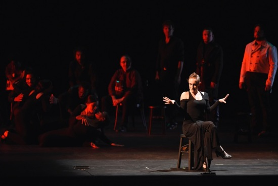 Marina Elana as Ismene in Noche Flamenca's ANTIGONA, at ADF 6/26/15. This adaptation includes a Master of Ceremonies, performed by Emilio Florido, back right. Photo: Grant Halverson.