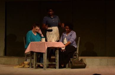 Page Purgar, Kala Hinnant and Barbette Hunter in Two Mothers at a Roadside Cafe, in the ArtsCenter's 10 x 10 in the Triangle #14. Photo: Adam Graetz.