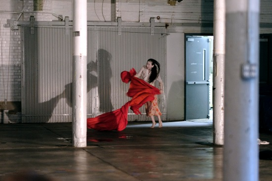 Eiko Otake dancing the Cordoba Center for the Arts iteration of A BODY IN PLACES,  her new series of solo works. At ADF through July 12. Photo: Grant Halverson.