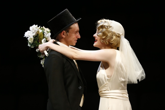 Ethan Fox as Nathan Detroit and Ainsley Seiger as Miss Adelaide in the happy ending of  PlayMakers SYC production of Guys & Dolls. Photo:  Jon Gardiner.
