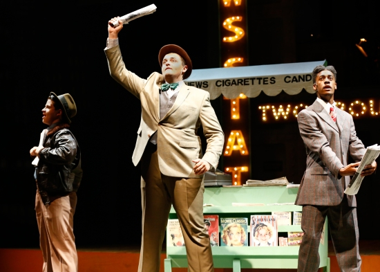 L to R:  Colin Kless as Benny Southstreet, Ryan Widd as Nicely-Nicely Johnson and Daniel Johnson as Rusty Charlie,  on the set of PlayMakers SYC production of Guys & Dolls. Photo:  Jon Gardiner.