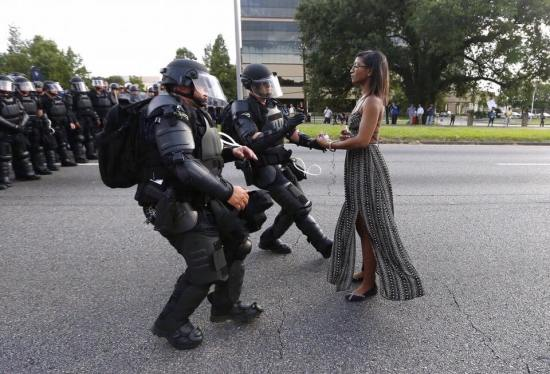 Ieshia Evans, Baton Rouge, 7:9:16.  Photo: Jonathan Bachman:Reuters.jpg